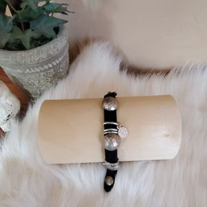 Jessica Simpson leather and silver bracelet